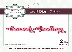 Sue Wilson Designs - Die - Festive Shadowed Sentiment Season's Greetings Craft Die