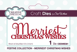 Sue Wilson Designs - Die - Festive Merriest Christmas Wishes Mini Expressions Die