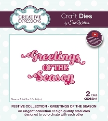 Sue Wilson Designs - Die - Festive Greetings of the Season Shadowed Sentiment Die