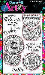 Dare 2B Artzy - Clear Stamp - Flowers 4 Mom