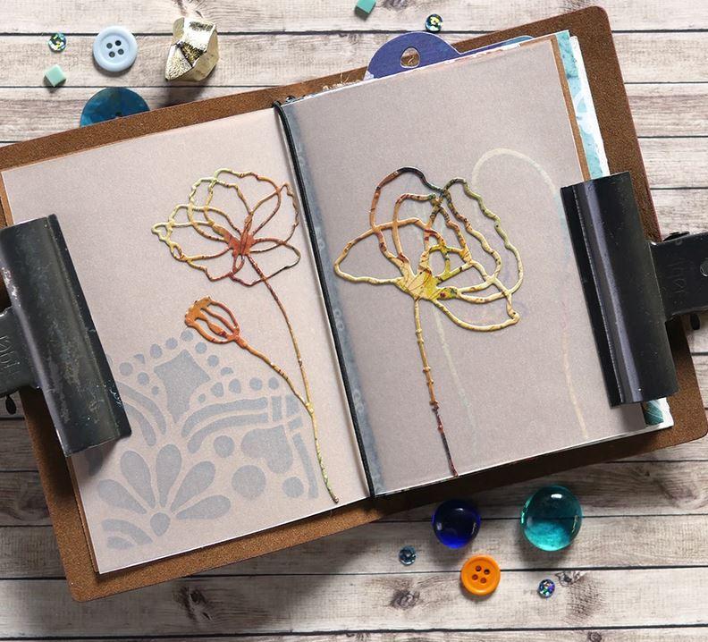Elizabeth Craft Designs - Die - Floral Insert Art Journal die
