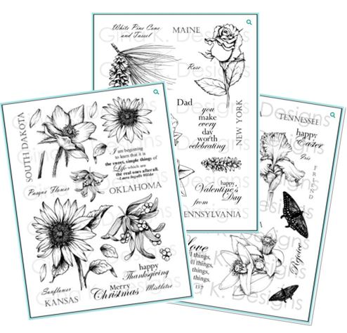 Gina K Designs - Stately Flowers Stamps