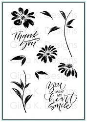 Gina K Designs - Clear Stamp - Watercolor Flowers