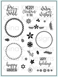 Gina K Designs - Clear Stamp - Holiday Wreath Builder