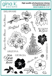 Gina K Designs - Clear Stamp - Stately Flowers 13