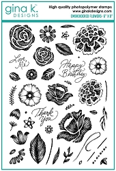 Gina K Designs - Clear Stamp - Embroidered Flowers