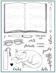 Gina K Designs - Clear Stamp - Open Book