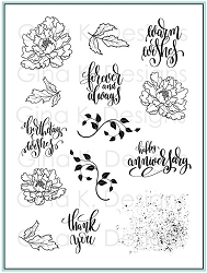 Gina K Designs - Clear Stamp - Rose Peonies