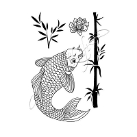 Katzelkraft - A6 Unmounted Rubber Stamp Sheet - Koi (4.25
