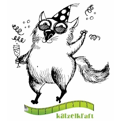 Katzelkraft - Solo Unmounted Rubber Stamp - Les Gros Chats (Fat Cats) Drinky