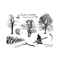Katzelkraft - A5 Unmounted Rubber Stamp Sheet - Arbres Hivers (Winter Trees) (5.5