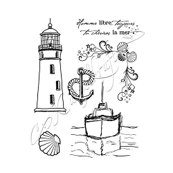 Katzelkraft - Unmounted Rubber Stamp - Bateau en Mer (Boat in the Sea) (4