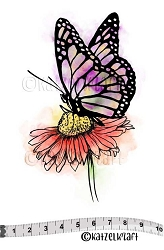 Katzelkraft - Solo Unmounted Rubber Stamp - Daisy Butterfly