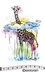 Katzelkraft - Solo Unmounted Rubber Stamp - Giraffe dans les Nuages (Giraffe in the Clouds)