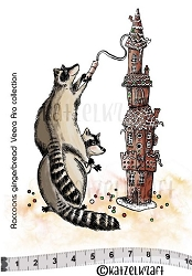 Katzelkraft - Solo Unmounted Rubber Stamp - Raccoons and Gingerbread House