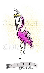Katzelkraft - Solo Unmounted Rubber Stamp - Flamingo