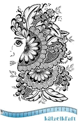 Katzelkraft - A6 Unmounted Rubber Stamp Sheet - Woman Tangle (5.5