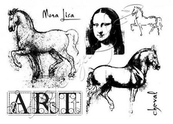 Katzelkraft - A5 Unmounted Rubber Stamp Sheet - Vinci Joconde (Mona Lisa) (5.5