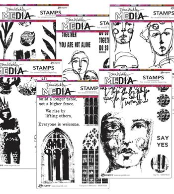 Dina Wakley - new Stamps, Stencils, & Collage paper