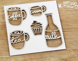 Scrapiniec Chipboard - Yum Yum Milk & Cream