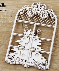 Scrapiniec Chipboard - Layered Window and a Christmas Tree