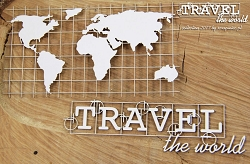 Scrapiniec Chipboard - Travel the World Map