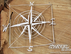 Scrapiniec Chipboard - Travel the World Compass Rose Frame