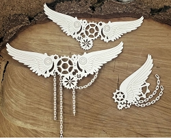 Scrapiniec Chipboard - Steampunk Flying Gears large