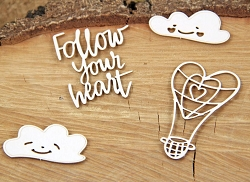 Scrapiniec Chipboard - Cloudy Hearts Balloons