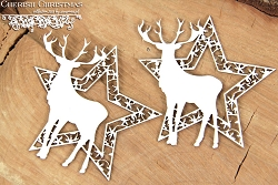 Scrapiniec Chipboard - Cherish Christmas 2 stars