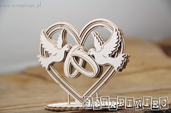 Scrapiniec Chipboard - Heart, Doves and Rings 3D