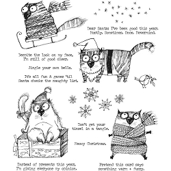 Stamper's Anonymous / Tim Holtz - Cling Mounted Rubber Stamp Set - Snarky Cat Christmas