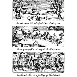 Stamper's Anonymous / Tim Holtz - Cling Mounted Rubber Stamp Set - Holiday Scenes
