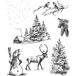 Stamper's Anonymous / Tim Holtz - Cling Mounted Rubber Stamp Set - Winterscape