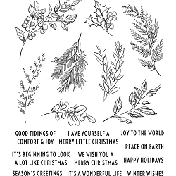 Stamper's Anonymous / Tim Holtz - Cling Mounted Rubber Stamp Set - Sketch Greenery