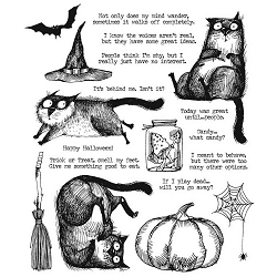 Stamper's Anonymous / Tim Holtz - Cling Mounted Rubber Stamp Set - Snarky Cat Halloween