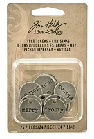 Advantus - Tim Holtz Idea-ology - Typed Tokens Silver Christmas Word Charms