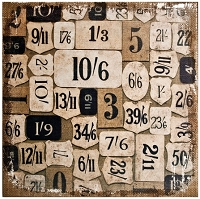 Tim Holtz Market District - Numeric Burlap Panel