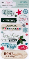 American Crafts - Dear Lizzy Christmas Collection - Layered Dimensional Stickers - Remarks - Jingle Phrases
