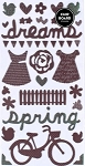 American Crafts Thickers Printed Chipboard Stickers - Bliss Accents Coffee