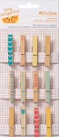 American Crafts - Yes Please Collection - by Amy Tangerine - Whittles - 12 Pack Clothes Pins