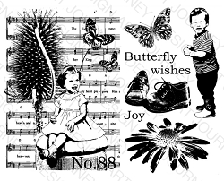 Art Journey - Unmounted Rubber Stamps - Butterfly Wishes