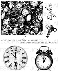 Art Journey - Unmounted Rubber Stamps - Clocks