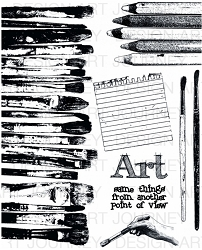 Art Journey - Unmounted Rubber Stamps - Brushes & Pencils