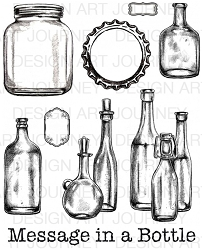 Art Journey - Unmounted Rubber Stamps - Vintage Bottles