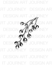 Art Journey - Unmounted Rubber Stamps - Twig with Waterdrops Small