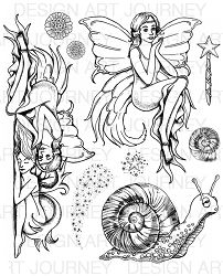 Art Journey - Unmounted Rubber Stamps - Butterfly Girls