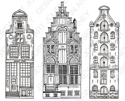 Art Journey - Unmounted Rubber Stamps - Amsterdam Canal Houses