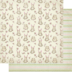 Authentique - Cottontail Collection - Two, Bunnies/Dotted Stripes- 12