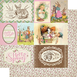 Authentique - Cottontail Collection - Seven, Cut-Aparts journaling cards/pink floral - 12